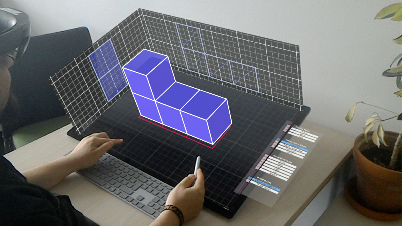 Preview for research project: DesignAR: Immersive 3D-Modeling Combining Augmented Reality with Interactive Displays